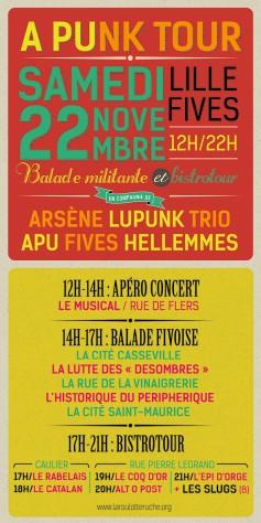 L'APU Fives Hellemmes et les Arsène Lupunk Trio organisent une balade urbaine musicale et militante dans le quartier de Fives.
