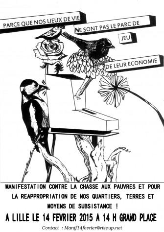 Manifestation contre la chasse aux pauvres et pour la réappropriation de nos quartiers, terres et moyens de subsistance !