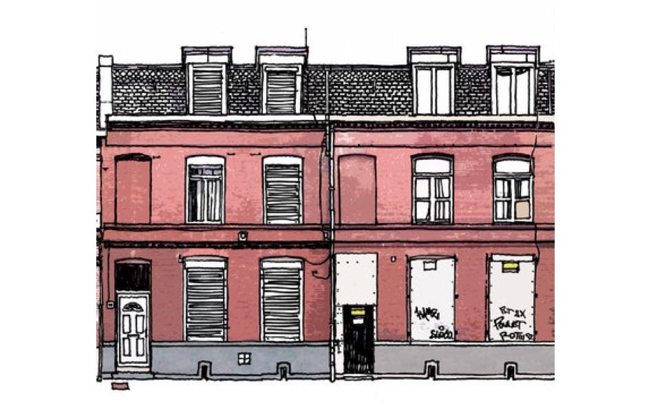 Une rangée de logements (dessin)